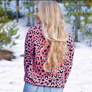 Simply Southern Pink Leopard Print Sweater